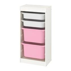 TROFAST - Kombinasi penyimpanan dgn kotak, putih/putih merah muda
