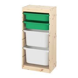 TROFAST - Storage combination with boxes, light white stained pine green/white