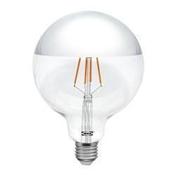 SILLBO - Lampu LED E27 370 lumen, bulat/bag atas bercermin diwarnai perak