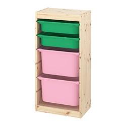TROFAST - Kombinasi penyimpanan dgn kotak, pinus diwarnai putih muda hijau/merah muda