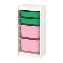 TROFAST - Kombinasi penyimpanan dgn kotak, putih/hijau merah muda