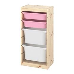 TROFAST - Kombinasi penyimpanan dgn kotak, pinus diwarnai putih muda merah muda/putih