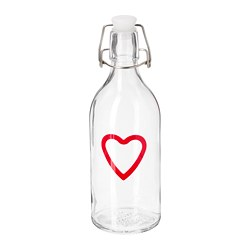 KORKEN - Bottle with stopper, clear glass/patterned