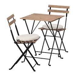 TÄRNÖ - Meja+2 kursi, luar ruang, diwarnai hitam/cokelat abu-abu/Frösön/Duvholmen krem