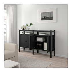 BROR - Unit rak dengan kabinet, hitam