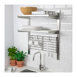 KUNGSFORS - Suspension rail with shelf/wll grid, stainless steel