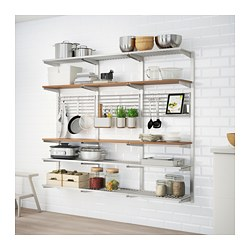 KUNGSFORS - Suspension rail with shelf/wll grid, stainless steel/ash