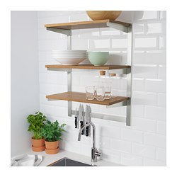 KUNGSFORS - Susp rail w shelf/mgnt knife rack, stainless steel/ash