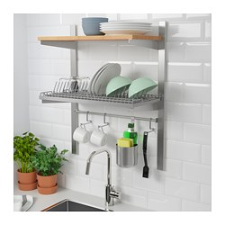KUNGSFORS - Susp rail w shelf/rail/dish dra, stainless steel/ash