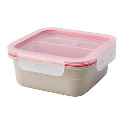 IKEA 365+ - Lunch box with inserts, square/beige light red