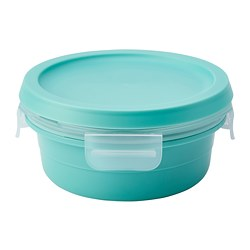 IKEA 365+ - IKEA 365+, lunch box with dry food compartment, round turquoise, 450 ml