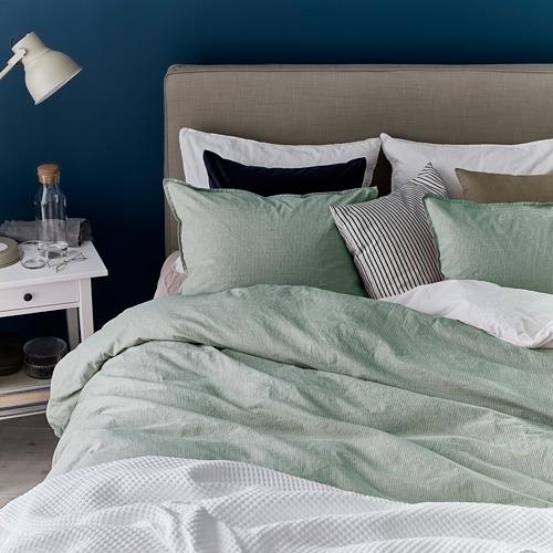 BERGPALM - sarung duvet dan sarung bantal, hijau/garis-garis, 150x200/50x80 cm | IKEA Indonesia - PE731562_S4