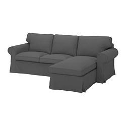 EKTORP - Sofa 3 dudukan dengan chaise longe, Hallarp abu-abu