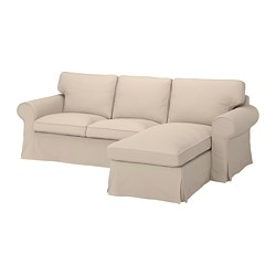 EKTORP - Sofa 3 dudukan dengan chaise longe, Hallarp krem