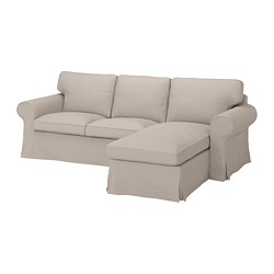 EKTORP - Sofa 3 dudukan dengan chaise longe, Totebo krem muda
