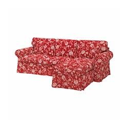 EKTORP - Sofa 3 dudukan dengan chaise longe, Virestad merah/putih