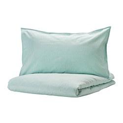 BERGPALM - Sarung quilt dan 2 sarung bantal, putih/hijau/garis-garis