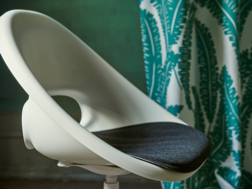 BLYSKÄR/LOBERGET - kursi putar dengan alas , putih/abu-abu tua | IKEA Indonesia - PH168492_S4