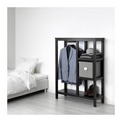 HEMNES - Lemari pakaian terbuka, hitam-cokelat