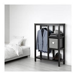 HEMNES - Open wardrobe, black-brown