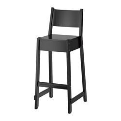 NORRÅKER - Kursi bar dengan sandaran, hitam
