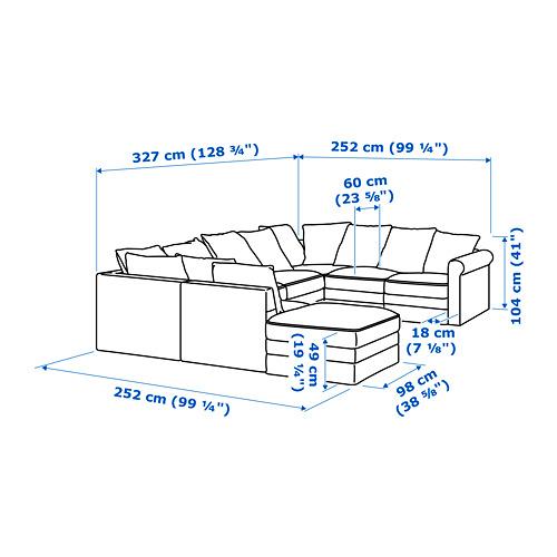 GRÖNLID - sofa bentuk u, 6 dudukan, dengan ujung terbuka/Sporda abu-abu tua   IKEA Indonesia - PE688704_S4