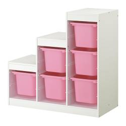 TROFAST - Storage combination, white/pink