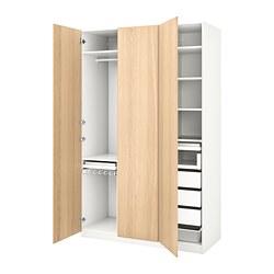 PAX - Lemari pakaian, putih/Repvåg veneer kayu oak diwarnai putih
