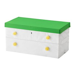 FLYTTBAR - Box with lid, green/white