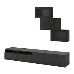 BESTÅ - Kombinasi penyimpanan TV/pintu kaca, hitam-cokelat/Lappviken kaca bening hitam-cokelat