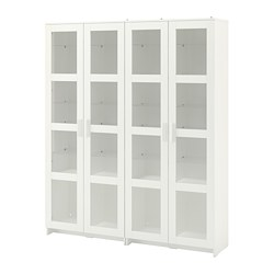 BRIMNES - Storage combination w glass doors, white