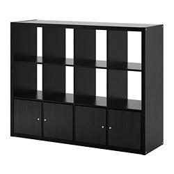 KALLAX - Unit rak dengan 4 sisipan, hitam-cokelat