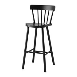 NORRARYD - Bar stool with backrest, black