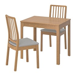 EKEDALEN/EKEDALEN - Meja dan 2 kursi, kayu oak/Orrsta abu-abu muda
