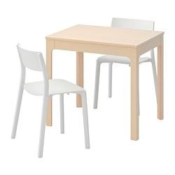 JANINGE/EKEDALEN - Meja dan 2 kursi, kayu birch/putih