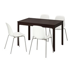 LEIFARNE/EKEDALEN - Table and 4 chairs, dark brown/white