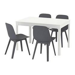 ODGER/EKEDALEN - Meja dan 4 kursi, putih/biru