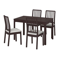 EKEDALEN/EKEDALEN - Table and 4 chairs, dark brown/Orrsta light grey