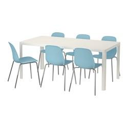 LEIFARNE/TINGBY - Meja dan 6 kursi, putih/biru muda