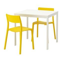 VANGSTA/JANINGE - Meja dan 2 kursi, putih/kuning