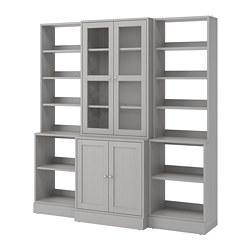 HAVSTA - Kombinasi penyimpanan dg pintu kaca, abu-abu