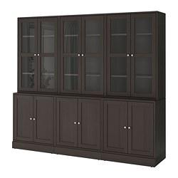 HAVSTA - Kombinasi penyimpanan dg pintu kaca, cokelat tua, 243x47x212 cm