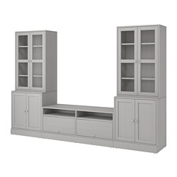 HAVSTA - TV storage combination/glass doors, grey