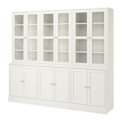 HAVSTA - Storage combination w glass-doors, white, 243x47x212 cm