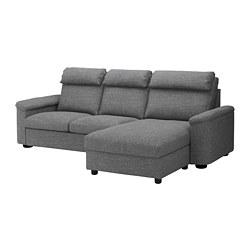 LIDHULT - Sofa 3 dudukan, dengan chaise longue/Lejde abu-abu/hitam