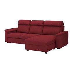 LIDHULT - Sofa 3 dudukan, dengan chaise longue/Lejde merah-cokelat