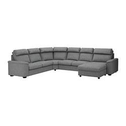 LIDHULT - Sofa tempat tidur sudut, 6 dudukan, dengan chaise longue/Lejde abu-abu/hitam