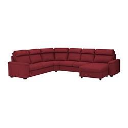 LIDHULT - Sofa sudut, 6 dudukan, dengan chaise longue/Lejde merah-cokelat