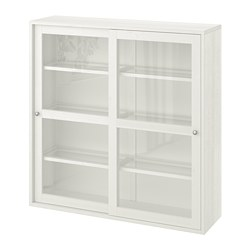 HAVSTA - Glass-door cabinet, white, 121x35x123 cm