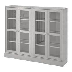 HAVSTA - Storage combination w glass doors, grey